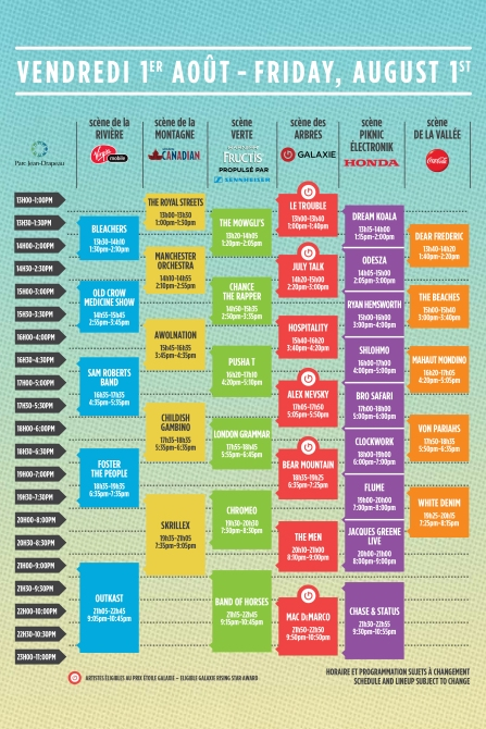 osheaga 2014 schedule set times friday