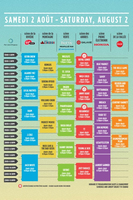 osheaga 2014 schedule set times saturday