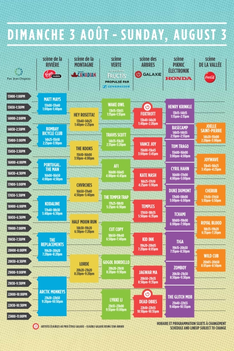 osheaga 2014 schedule set times sunday